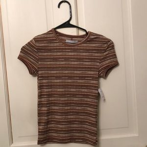 A brown striped T-shirt from Urban Outfitters.